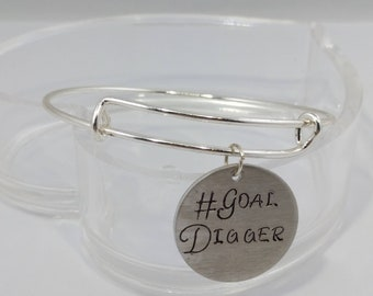 Empowerment Keychain, Goal Digger, #goaldigger, Handstamped Pendant, Gift for friend, Graduation Gift, New Business Gift, Entrepreneur Gift