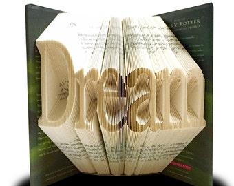 Book folding pattern, Dream, finished book pattern,finished book, book art sculpture pattern, diy book folding pattern, diy book fold