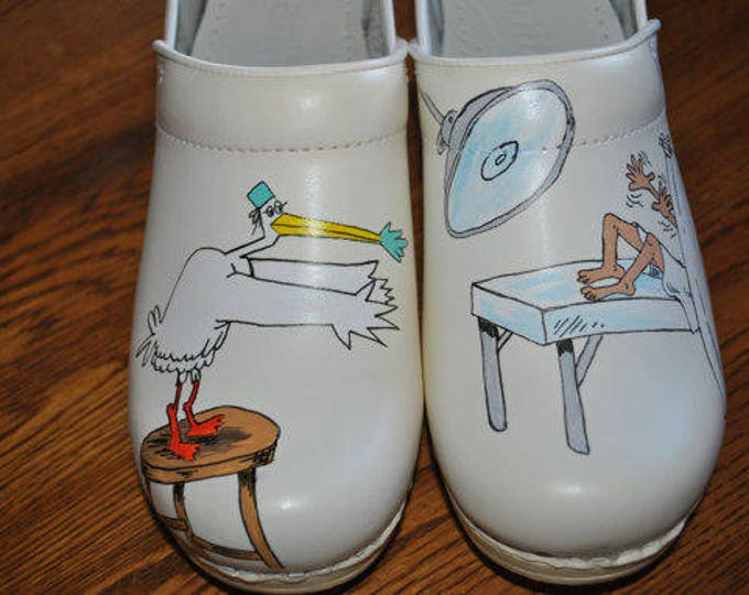 Custom white nurses dansko size 40 with stork delivering baby