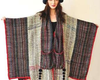 Plus Size Clothing Gray and Red Handwoven Women's Poncho - MADE TO ORDER
