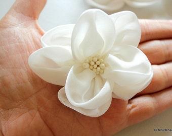 White Satin Fabric Flower Applique