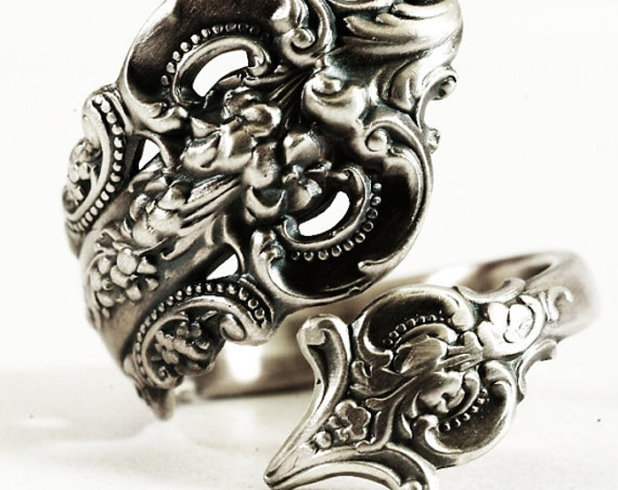Grand Baroque Ring, Sterling Silver Spoon Ring, Fancy Ring, Victorian Ring, Wallace Baroque, Vintage Spoon Ring, Adjustable Ring Size (6020)