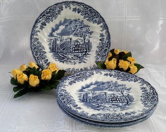 Churchill China, The Brook, Set of four (4) Blue and White Cake Plates, Made in England