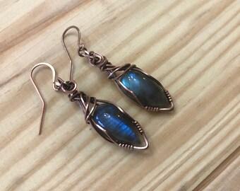 Blue Green Labradorite Earrings in Antiqued Copper