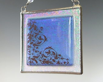 Sapphire Blue Fused Glass Suncatcher Light Catcher Scrollwork