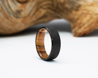 Carbon Fiber and Olivewood ring, Wood Wedding Band, Mens Ring, waterproof finish