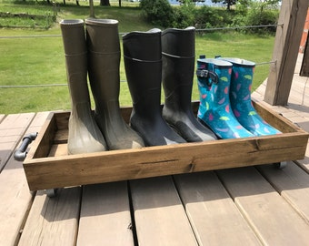 Industrial Boot Rack Shoe Rack Boot Tray Rustic Boot Tray Book Rack  Industrial Shoe Cart Shoe Cart Entryway Storage Rolling Boot Tray