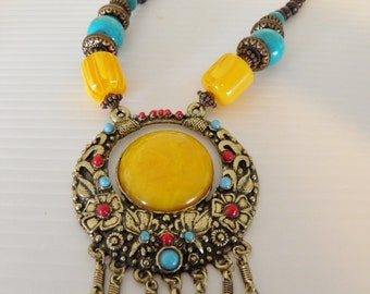 SALE*******Chunky Bold Mod Statement Boho Necklace*******Was95.00*****Now