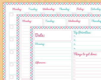 """Printable Planners - Pink and Teal Daily, Weekly and Monthly Printable Organizers - Printable Calender - Editable - 8.5x11"""" and A4"""