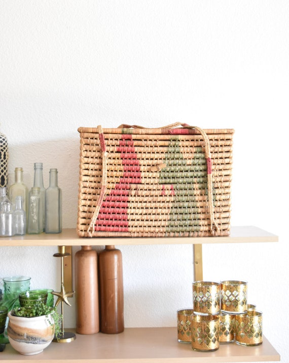 pink large woven straw wicker storage box with lid and handles