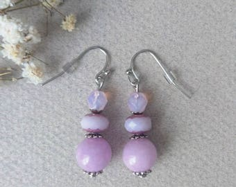 Earrings Romantic fantasy with jade, in shades of pink faceted beads
