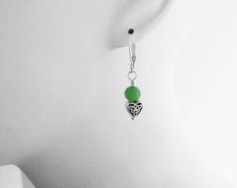 Love Knot, Celtic Knot, Heart Earrings, Lightweight Earrings, Comfortable Jewelry, Irish Gifts, Green Jewelry, Nickel Free Jewelry, Pierced