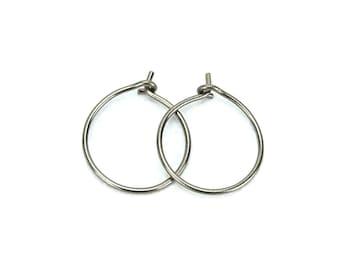 Niobium Hoop Earrings Small Silver Niobium Hoops Hypoallergenic Hoop Earrings for Sensitive Ears, No Nickel Hoops, Niobium Jewellery