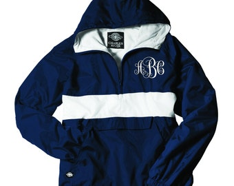 MONOGRAMMED Windbreaker Navy/ White Striped Pullover (Font Shown: Interlocking in White)