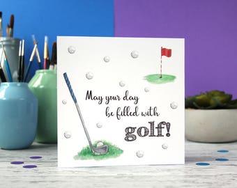 Golf card, golf birthday card, Fathers Day card, card for golfers, Dad card