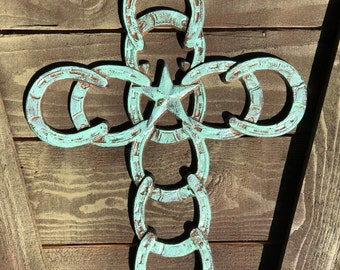 Mint green wash Horseshoe Cross - Wall Cross Decor - Western Iron Cross  - Rustic Horseshoe Cross - Star Cross  - Metal Cross