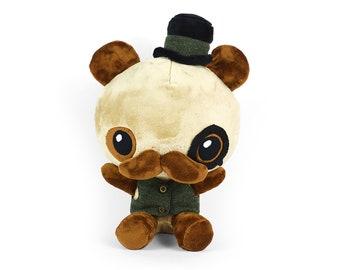 Chibi Steampunk Panda Plush Stuffed Animal in Minky Faux Fur