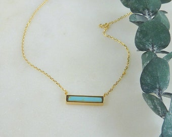 Color Collection. Mini Turquoise and Gold Bar Necklace. modern necklace. minimal necklace. layering necklace. horizontal bar necklace.
