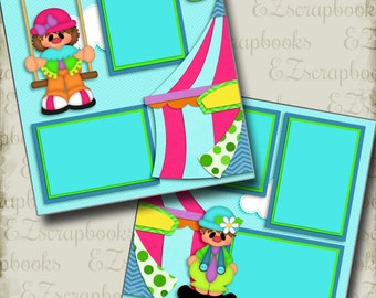 CIRCUS - 2 Premade Scrapbook Pages - EZ Layout 3140