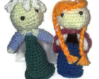 Premade Ready now Crochet Frozen Inspired Dolls Anna and Elsa