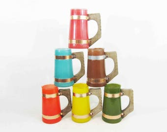 Vintage Set of Six Siesta Ware Mugs with Wood Handles. Multi Color Set. Circa 1950's.