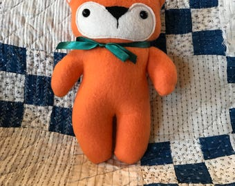 10 inch stuffed fox, fleece fox, baby gift, foxy, orange fox, stuffed fox, stuffie, plush fox, plushie