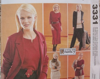 UNCUT Misses/Miss Petite Unlined Jacket in Two Lengths, Dress, Tops, Pull-On Pants and Skirt - Size 8 to 22 - McCalls Sewing Pattern 3331