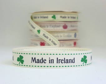 Made in Ireland grosgrain ribbon. 16mm wide. 1.5 metres