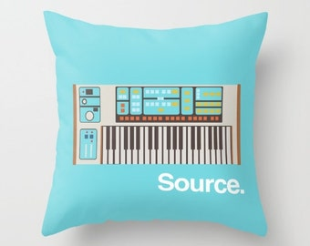 Moog Source Throw Pillow Cushion Synth Keyboard Synthesizer Piano Music Gift Home Gifts for Him Interior