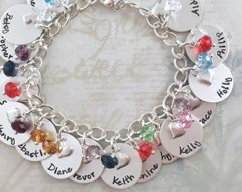 Mother's Day gift, Custom hand stamped, personalized charm bracelet, sterling silver bracelet, mom gift, mother gift bracelet