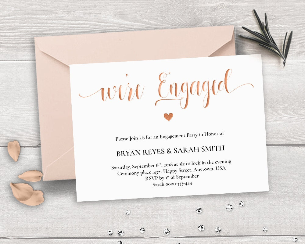 Rose Gold Engagement Invitation Template We\'re Engaged