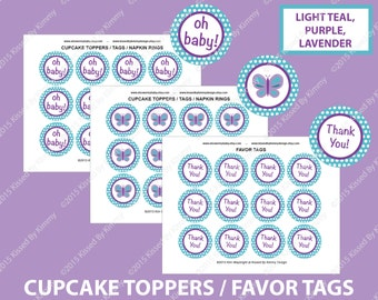 Teal Purple Baby Shower Decorations - Butterfly Thank You Favor Tags - PRINTABLE Baby Shower Cupcake Toppers - Light Teal Purple Lavender