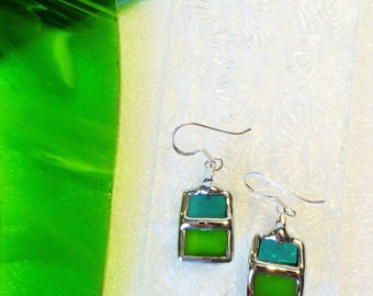 VTRAIL green and turquoise earrings