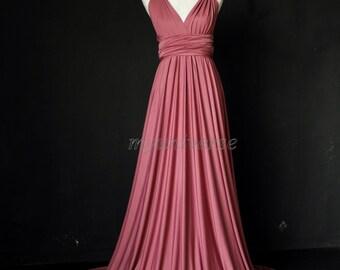 Dark Pink Bridesmaid Dress Wrap Infinity Dress Wedding Gown Convertible Dress Formal Evening Gown