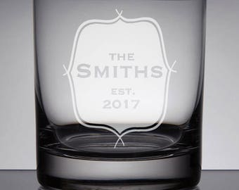 Engraved Whiskey Rocks Glass, Family Est. Rocks Glass, Wedding Gift Bourbon Glass, Sandblasted, Family Crest, Etched Whiskey, Customizable