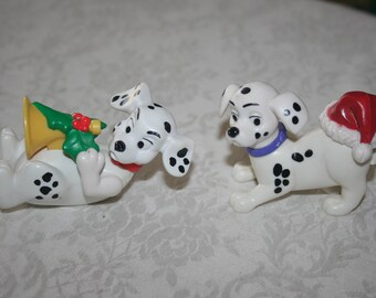 Two 2 Vintage Disney 101 Dalmatians McDonald's Toy 1996 Figure Figurine Christmas Holiday, Horn, Santa Hat