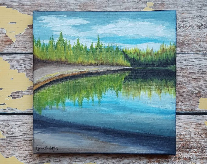 "Seascape Canvas Art | Coastal Painting | Ocean Art | Landscape Painting | Beachscape Painting | 8x8 | ""A Place for Reflection"""