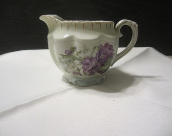 Royal Bruxonia Austria Creamer Purple  Violets with Lily of The Valley