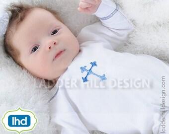 Cross Machine Embroidery Design -- Mini Cross Embroidery -- Baptism Fancy Satin Cross Embroidery -- Design REL066