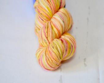 "Hand Dyed Yarn - Fingering weight - ""Neon Pop"" Colorway - Hand Dyed Yarn - Socks - Shawl"