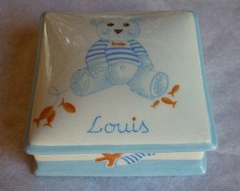 Porcelain hand painted blue bear Decor box