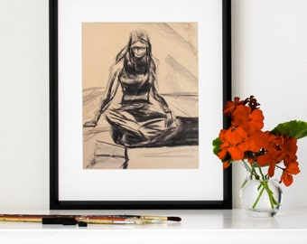 "Charcoal Drawing, Giclee, Print, Arty, Young Woman Sitting on Floor, Original Drawing, Vintage, 1970s, Aged Paper, 8"" X 10"" - ""Art Student"""