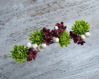 Flower hair pins Bridal hair pin Polymer clay flower Cold porcelain Bridesmaid flower pins Floral hair pins Clay lilac Green chrysanthemum