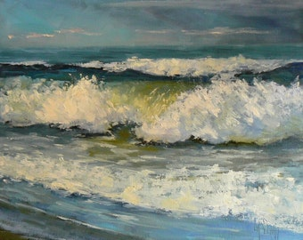 Seascape Canvas Print, Ocean Print, Ocean Giclee, 8x10 Seascape Print, free shipping, choose your size, ready to hang, no frame required