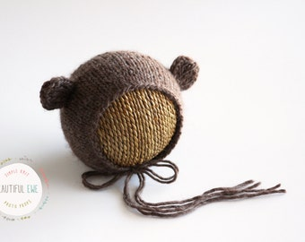 Knitting Pattern - Little Ears Knit Bear Bonnet - Newborn Photography Prop