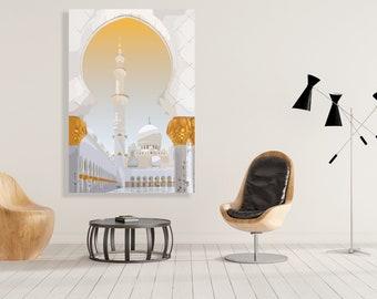 Sheikh Zayed Mosque Paitning Canvas Print Islamic Art, Islamic Wall Art, Minimalist, islamic art, home decor, islamic home decor, wall art