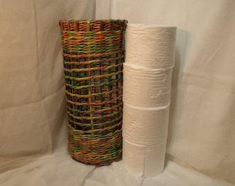 Toilet Roll Storage Holder, 4 x 5'' Double Roll Organiser, Bathroom Decor,Australian Handmade Paper Wicker, Home Decor Housewarming Gift.