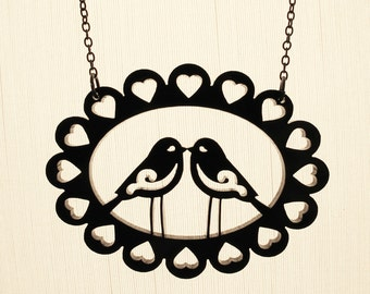 Love Birds Necklace - Laser Cut Acrylic (C.A.B. Fayre Original Design)