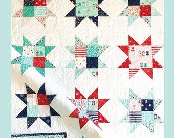 Patchwork Stars Quilt Pattern - PDF - INSTANT DOWNLOAD