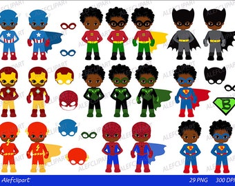 Superboy ,Superhero Boys, Digital Clipart / Multicultural / African American  / For personal and Commercial Use